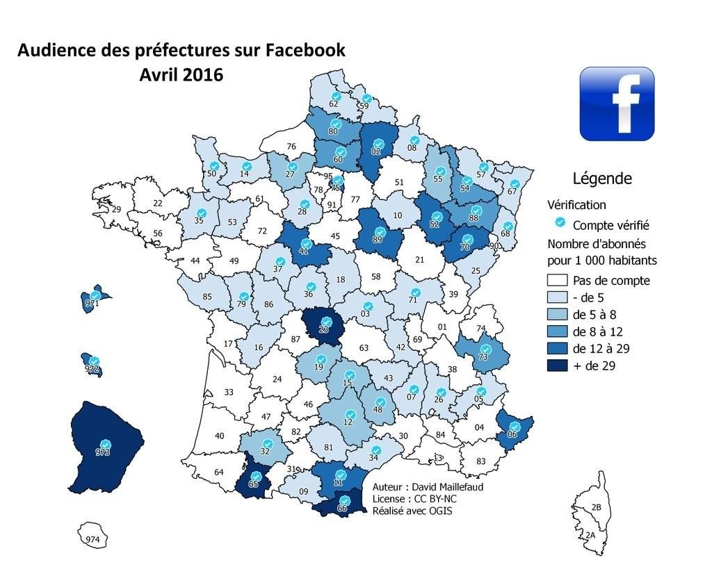 Audience des Préfectures sur Facebook