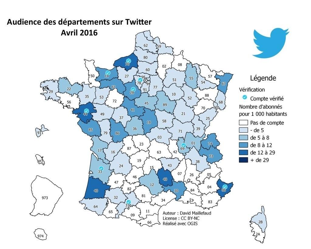 Audience des départements sur Twitter